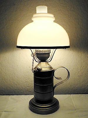 Gone With The Wind Vintage 3-Way Electric Silver Metal Oil Can Hurricane Lamp
