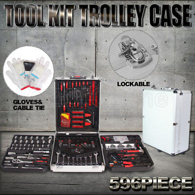 596 Piece Metric Tool Kit Trolley Case Portable DIY Tool Set Home Workshop NEW
