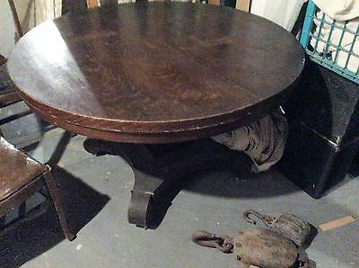 antique table 4ft dia and 4 high back chairs