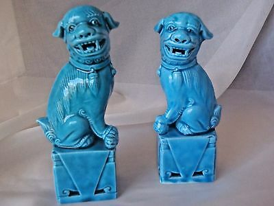"""Chinese Porcelain FOO DOG Figurines Pair 5"""" Blue Turquoise Glaze Temple Statues"""