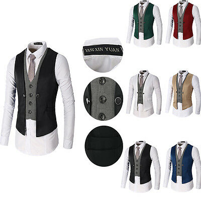 2017 Hot Mens Formal Wedding Waistcoat Casual Dinner Suit Business Vest New