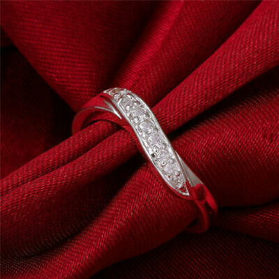 925 Sterling Silver 4MM Made With Swarovski Crystal Wedding Engagement Band Ring