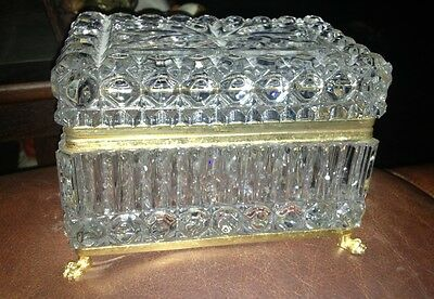 Antique FRENCH Style Footed Clear Glass Brass Jewelry Casket Box Hinged