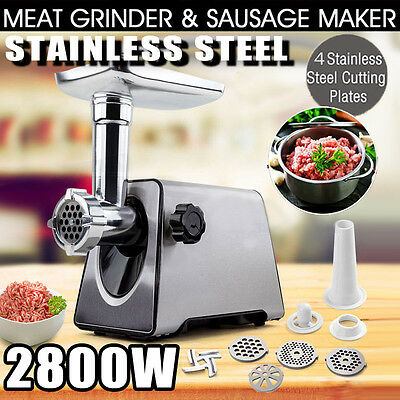 Meat Grinder Kitchen Aid Electric 2800W Sausage Maker Mincer Metal Wire Drawing
