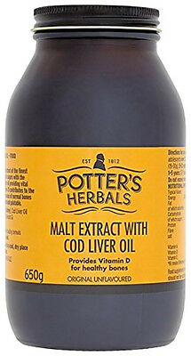 Potters Malt Extract and Cod Liver Oil 650 gram Top Quality Free Delivery