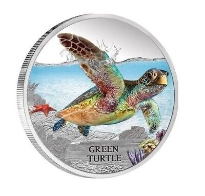 Deadly and Dangerous 1oz silver proof coin Endangered Green Turtle - Perth Mint