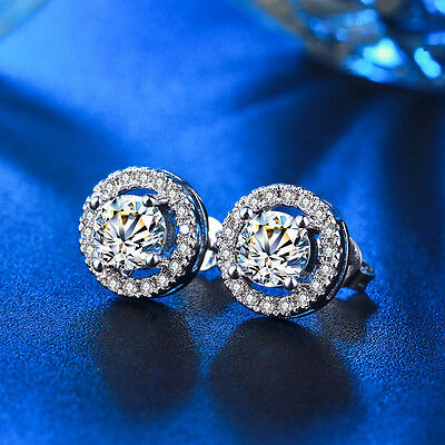 18K White Gold Filled Made With Swarovski Crystal Faux Diamond Stud Earrings