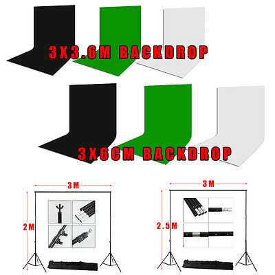 Photo Studio Muslin Backdrop Green Black White Background Stand Tripod Case Kit