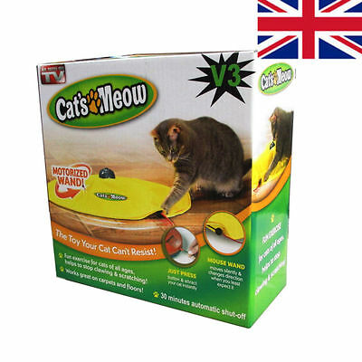 V3 Cat's Meow Undercover Yellow Skirt Motorised Moving Wand Mouse Toy / Boxed #1