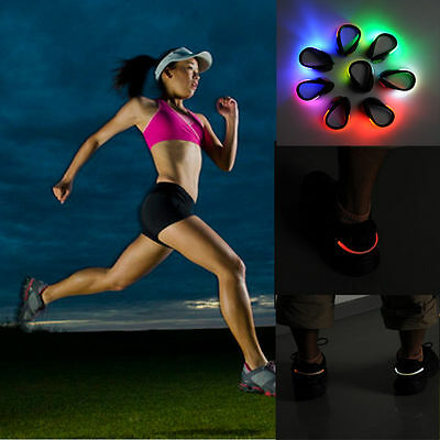 2PCS LED Luminous Shoes Clips Running Cycling Night Safety Warning Shoes Clips