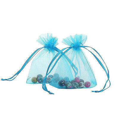"""60pcs Organza Bags Party Favors Drawable Jewellry Pouches 6*9"""" Blue"""