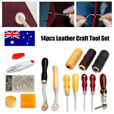 14 Pcs Leather Craft Tool Set Tools Kit Hand Stitching Sewing Thread Awl Thimble