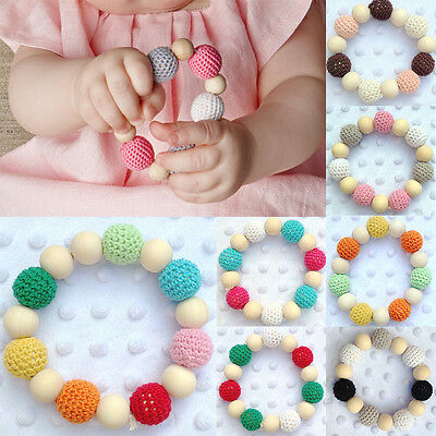 Infant Wooden Teether Baby Toy Kids Round Bead Teething Chewie Colorful Bracelet