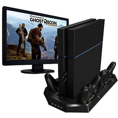 Vertical Stand Dual Cooler Fans with 4 Charging Stations for PS4 Controllers