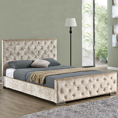Gold Champagne Crushed Velvet Fabric Upholstered Bed Frame Double / King Size
