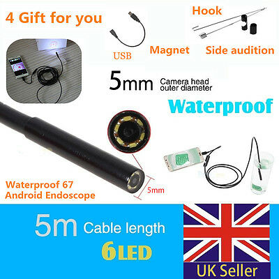 For Samsung Android Phone 5M IP67 Endoscope HD 6 LED Camera Inspection Borescope