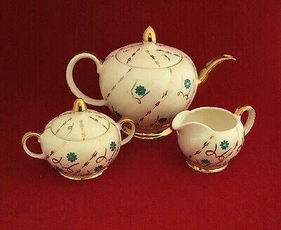 Vintage Ellgreave Teapot, Lidded Sugar Bowl & Milk Jug, Cream With Gold Trim