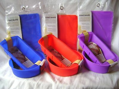 New Silicone Cake Baking 3 Set Round Loaf Mould & Mat Red Blue Or Purple