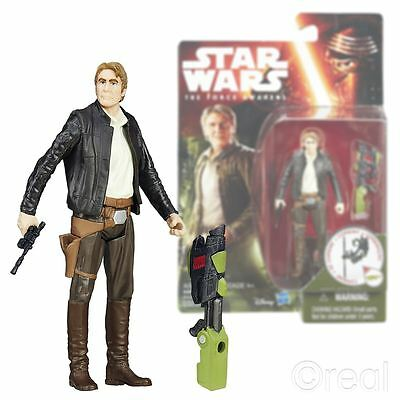 "New Star Wars The Force Awakens 3.75"" Han Solo Figure Jungle Mission Official"