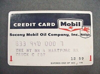 Lot #8: NY NH Hartford Railroad Employee Mobil Oil Credit Card 1959 Pegasus Logo