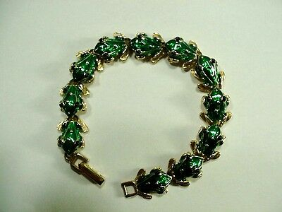 Gold-tone and Green Enamel Frog Bracelet