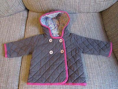 Girls Baby Boden Quilted Jacket Gray & Floral Size 6-12 Months