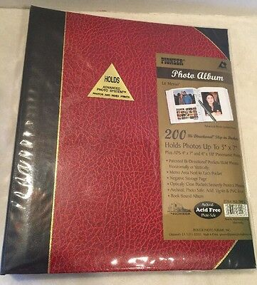 "Pioneer ""LeMemo"" Photo Album - Holds 200/Photos  Up To Size 5x7 New Red"