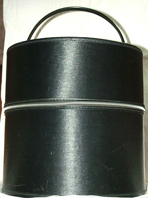 Vintage Black Hat Box with Zipper - Texutred Vinyl