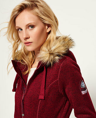 New Womens Superdry Storm Fur Ziphood Brick Burgundy Marl