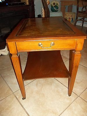 Vintage Leather Top Wood End Table W/ Casters, Drawer And Shelf