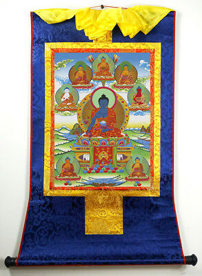 "Tibetan Thangka 8 Medicine Buddha Silk Brocade Wood Scroll Printing 13""X7"""