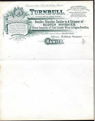 ORIGINAL LETTERHEAD FOR TURNBULL BLENDER OF SCOTCH WHISKIES 1890s
