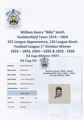 Billy Smith Huddersfield Town 1914-34 Extremely Rare Original Signed Small Pic