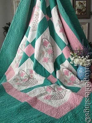 Excellent! Heirloom Quality Vintage 30s Cottage Sweet Flower Baskets QUILT 83x82