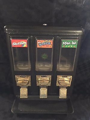 All Metal Triple Vending Gumball & Candy Machine Nice Shape! No Stand
