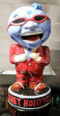 "PLANET HOLLYWOOD GLOBE HEAD Statue Vase Mug Ceramic Collectible 10 1/4"" Tall"