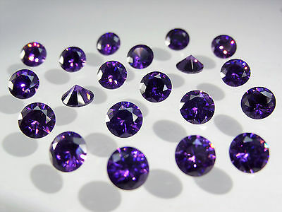 Amethyst Round Brilliant Cut SIZE CHOICE Loose Stones Cubic Zirconia Gemstones