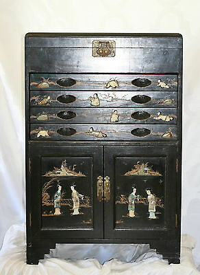 Antique Chinese Black Lacquer And Applied Gemstone China Cabinet Chest