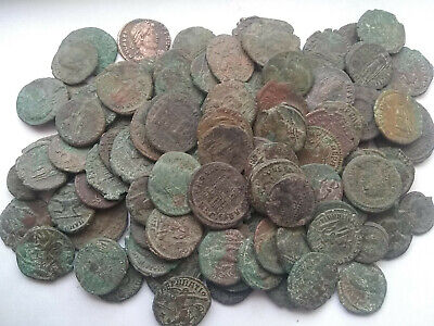 Random lot of 4 original Ancient Roman bronze coins not cleaned you identifiy