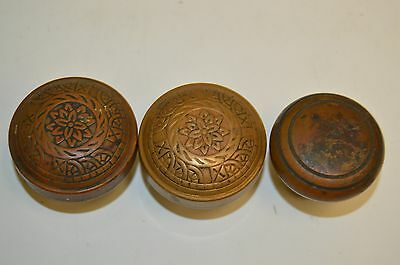 Lot of 3 Antique Ornate Brass Victorian Door Knobs Handles Beautiful Old Patina