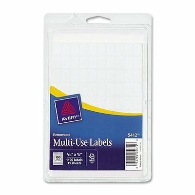 Avery Removable Rectangular Labels, 0.31 x 0.5 Inches, White, Pack of 1100 5412