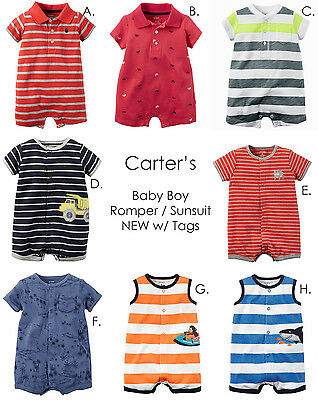CARTERS Baby Boy Snap Up Romper, Sunsuit Summer Newborn 3 6 9 12 18 24 Month NEW