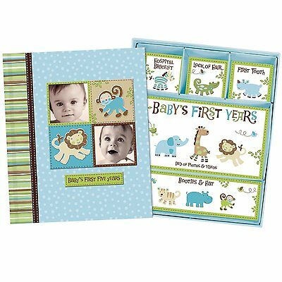Silly Monkey Baby Boy - Baby's First Five Years Keepsake Record Book with Box