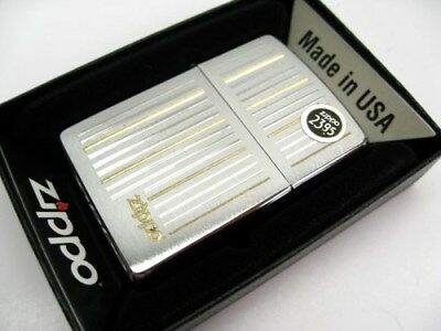 ZIPPO Full Size Brushed CHROME Vertical Striped Classic Windproof Lighter! 28646