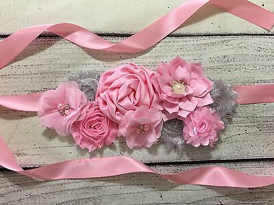Pink and Silver Maternity Sash Belt / Baby Showers Vintage Belt /Belly Band