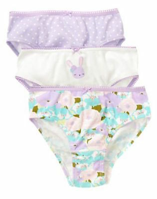 Gymboree Bunny Floral Purple Easter 3-pack Panties Underwear Girls M 7-8 NEW NWT