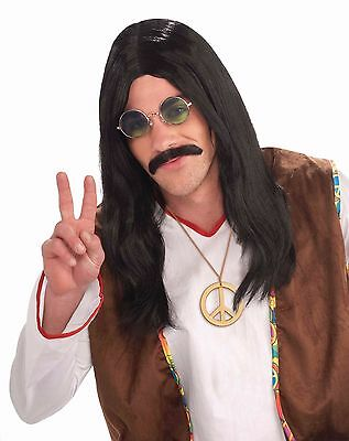 Mens Hippie Wig Long Black Straight Hair 60s Hippy Costume Halloween Adult NEW