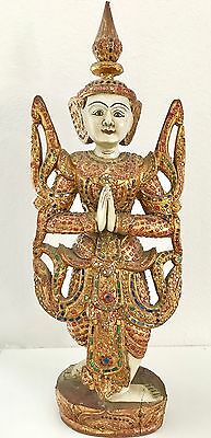 Burmese Wooden Standing Buddha with gold leaf and colored glass decor