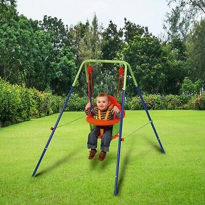 Baby Toddler Nursery Garden Swing with Safety Harness and Infant Metal Frame
