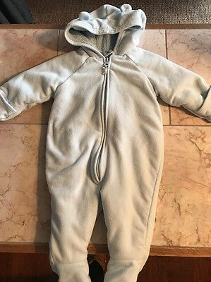 Baby Infant Old Navy 6-9 Month Warm Fleece Bunting Cozy Blue GUC Snowsuit